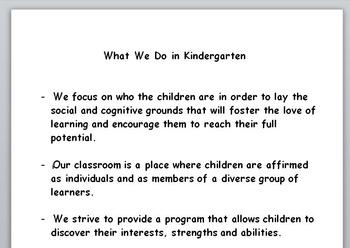Curriculum Night - What We Do in Kindergarten