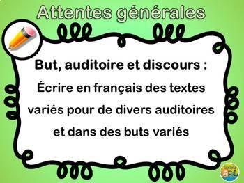 Curriculum Ontarien Attentes Générales pour le FLS