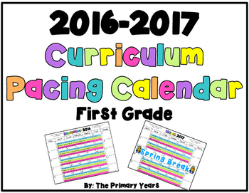 Curriculum Pacing Calendar - First Grade