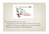 Curriculum Plan 2012/2013 for 1st graders
