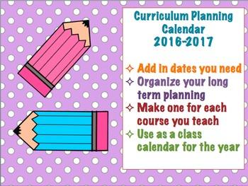 Curriculum Planning Calendar 2016-2017 School Year