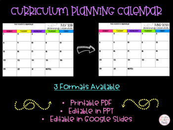 Curriculum Planning Calendar- EDITABLE