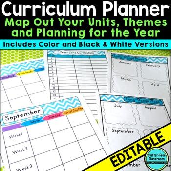 Curriculum Planning Calendar & Templates EDITABLE {Maps,Pa