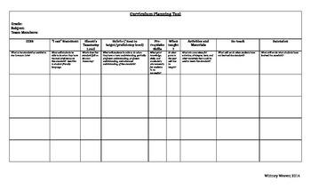 Curriculum Planning Tool