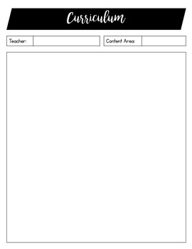 Curriculum Worksheets/ Planner