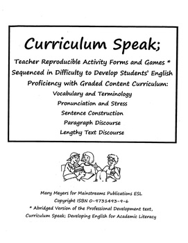 Curriculum Speak; Teacher Reproducible Templates