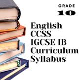 Curriculum Syllabus English Literature Grade 10 Aligned IG