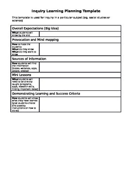 Curriculum-based Inquiry Learning Template