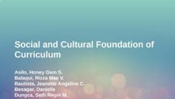 Curriculum in Social and Cultural Context
