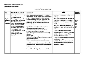Curriculum map 3rd year French Discovering French Rouge No