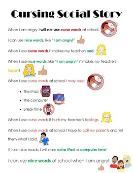 Cursing at School Social Story
