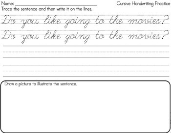 cursive handwriting sentence writing practice pages by lindsay keegan. Black Bedroom Furniture Sets. Home Design Ideas