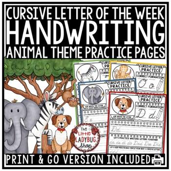 Cursive Handwriting Practice - Animal Theme