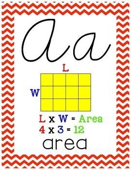 Cursive 3rd Grade Math Alphabet (Blue & Red)