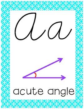 Cursive 4th Grade Math Alphabet (Bright Pink and Blue)