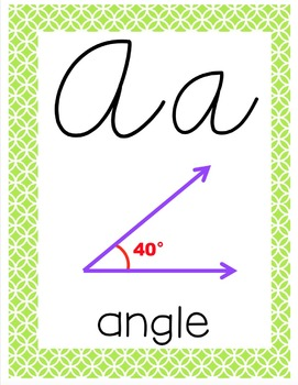 Cursive 5th Grade Math Alphabet (Lime & Blue)