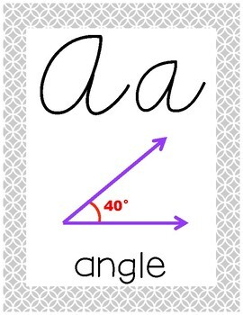 Cursive 5th Grade Math Alphabet (All Gray)