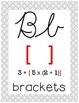 Cursive 5th Grade Math Alphabet (Gray Geometric Circles)