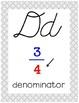 Cursive 5th Grade Math Alphabet (Gray, Black, Yellow)