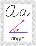 Cursive 5th Grade Math Alphabet (Gray, Mint, Yellow)