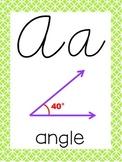 Cursive 5th Grade Math Alphabet (Lime, Purple, Orange)