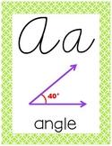 Cursive 5th Grade Math Alphabet (Lime, Purple, Orange, Blue)