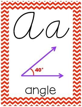 Cursive 5th Grade Math Alphabet (Red and Blue Chevron)