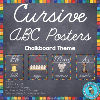 Cursive ABC Posters- Chalkboard Theme Alphabet Cards 3 Sizes