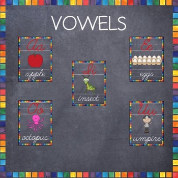 Cursive ABC Posters- Chalkboard Theme Alphabet Cards 3 Sizes