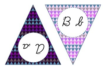 Cursive Alphabet Banner (Purple)