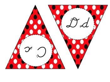 Cursive Alphabet Banner (Red and Black)