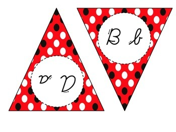 Cursive Alphabet Banner (Red and Black)