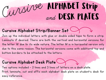 Cursive Alphabet Banner / Strip and Desk Plate | with and without arrows |