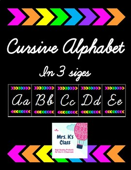 Cursive Alphabet - Black and Bright Arrows - 3 different sizes!