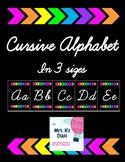Cursive Alphabet - Black and Bright Arrows - 3 different sizes!
