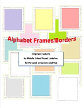 Cursive Alphabet Borders and Frames for Personal or Commercial Use