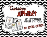 Cursive Alphabet Cards with Language Arts Vocabulary