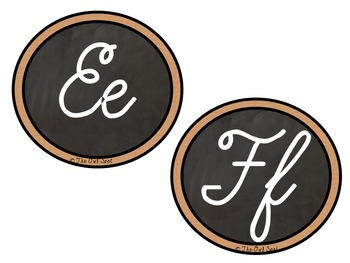 Cursive Alphabet Cards: Chalkboard and Wooden Signs