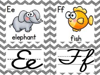Cursive Alphabet Cards (Gray Glitter Chevron)