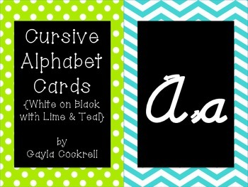 Cursive Alphabet Cards: White on Black with Lime and Teal