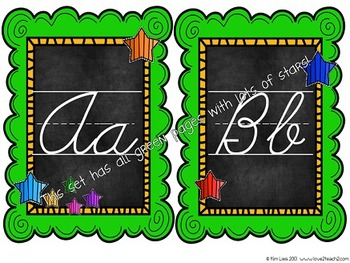 Cursive Alphabet Chart Combo Pack