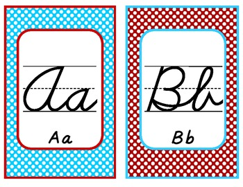 Cursive Alphabet Display Polka Dots Red and Teal / Turquoise