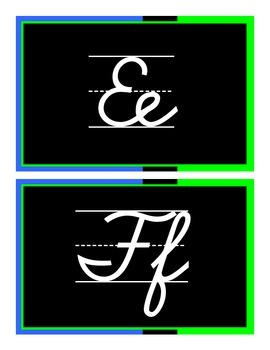 Cursive Alphabet - Green & Blue & Black