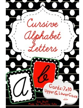 Cursive Alphabet Letters for Wall Decoration or Bulletin Board Titles