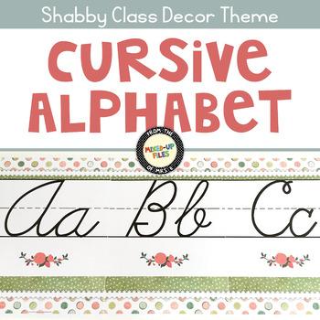 Shabby Chic Cursive Alphabet Posters