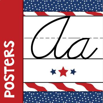 Patriotic Cursive Alphabet Banner