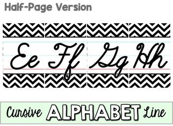 Cursive Alphabet Line - Black & White Chevron by Love to ...