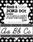 Cursive Alphabet Line - Black & White Polka Dot