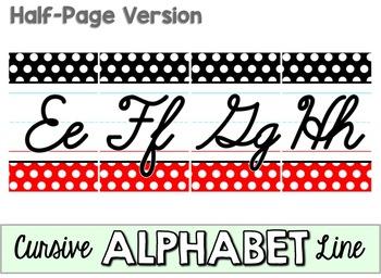 Cursive Alphabet Line - Black, White & Red Polka Dot