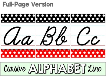 Cursive Alphabet Line - Black, White & Red Polka Dot